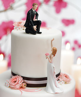 Reaching Bride and Helpful Groom Cake Toppers-