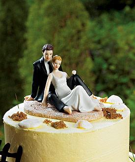 Romantic Wedding Couple Lounging on the Beach Figurine-beach wedding cake topper, weddingstar wedding cake topper, beach themed wedding ideas
