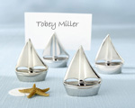 """Shining Sails"" Silver Place Card Holders (Set of Four)-wedding place card holder, beach wedding table place card holder, silver and chrome wedding favor,placecards, reception card, place card holders, card place holders, wedding table names, placecard holders, wedding table numbers, place card holder, wedding table number ideas, wedding table cards"
