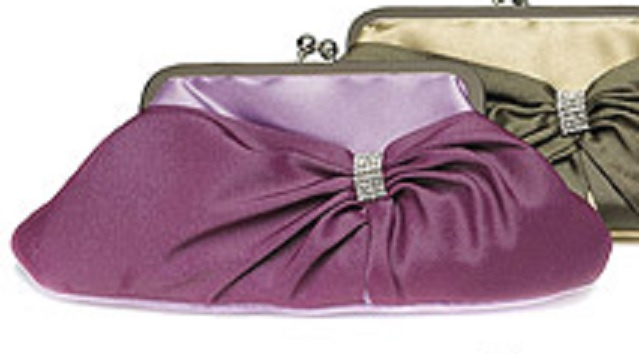 Convertible Satin Clutch Purse with Crystal Wrap - Amethyst-