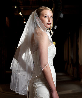 Satin Corded Edge Veil-bridal veil, wedding veil