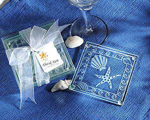 Shell and Starfish Frosted Glass Coasters-