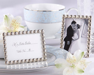 """Silver Pearls"" Mini Photo Frame-Silver Pearls Mini Photo Frame, wedding card holders"