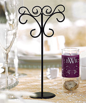 Tall Ornamental Wire Wedding Stationery Holders in Matte Black-Wedding Stationery Holders in Matte Black