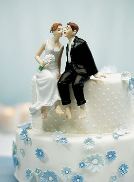 Whimsical Sitting Bride and Groom-whimsical wedding cake toppers
