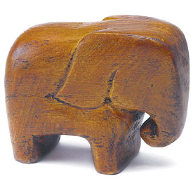 "Miniature ""Good Luck"" Wooden Elephants (Set of 4)-Asian wedding favor, Indian Wedding Favors"