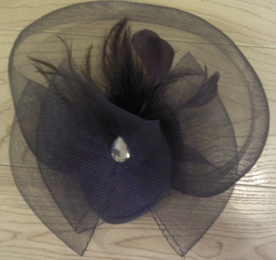 Blue Cocktail Hair Piece With Feather Accent and Clip-Blue Cocktail Hair Piece With Feather Accent and Clip