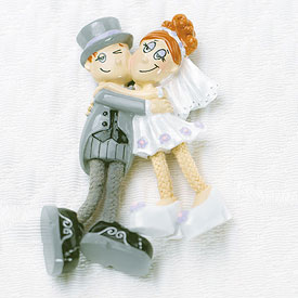 Comical Dangly Legged Bride and Groom Wedding Favor Magnet-Comical Dangly Legged Bride and Groom Wedding Favor Magnet