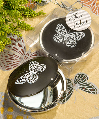 Elegant Reflections Collection butterfly mirror compact favors-butterfly mirror compact favors