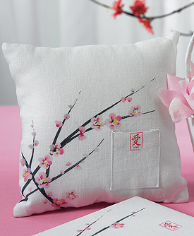 Cherry Blossom Square Ring Pillow-