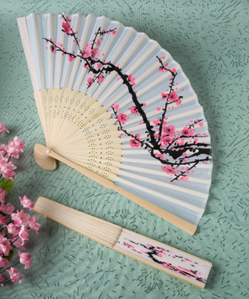 Delicate cherry blossom design silk folding fan favors-Delicate cherry blossom design silk folding fan favors