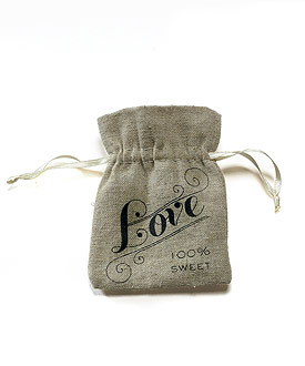 Mini Linen Drawstring Pouch with Vintage Infused Love Print-Mini Linen Drawstring Pouch with Vintage Infused Love Print