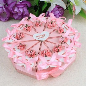 Pink Flower Cake Favor Boxes (Set of 10)-Pink Flower Cake Favor Boxes (Set of 10)
