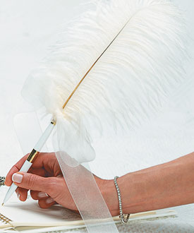 Traditional Plume Feather Wedding Pens-